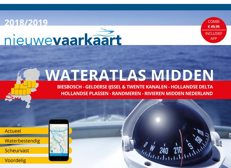 Nieuwe vaarkaart waterkaart; Wateratlas Midden incl. mobiele vaar app