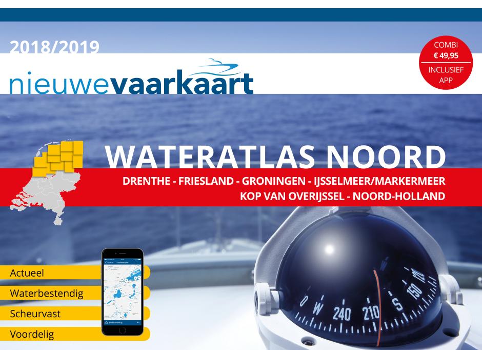 Nieuwe vaarkaart waterkaart; Wateratlas Noord incl. mobiele vaar app