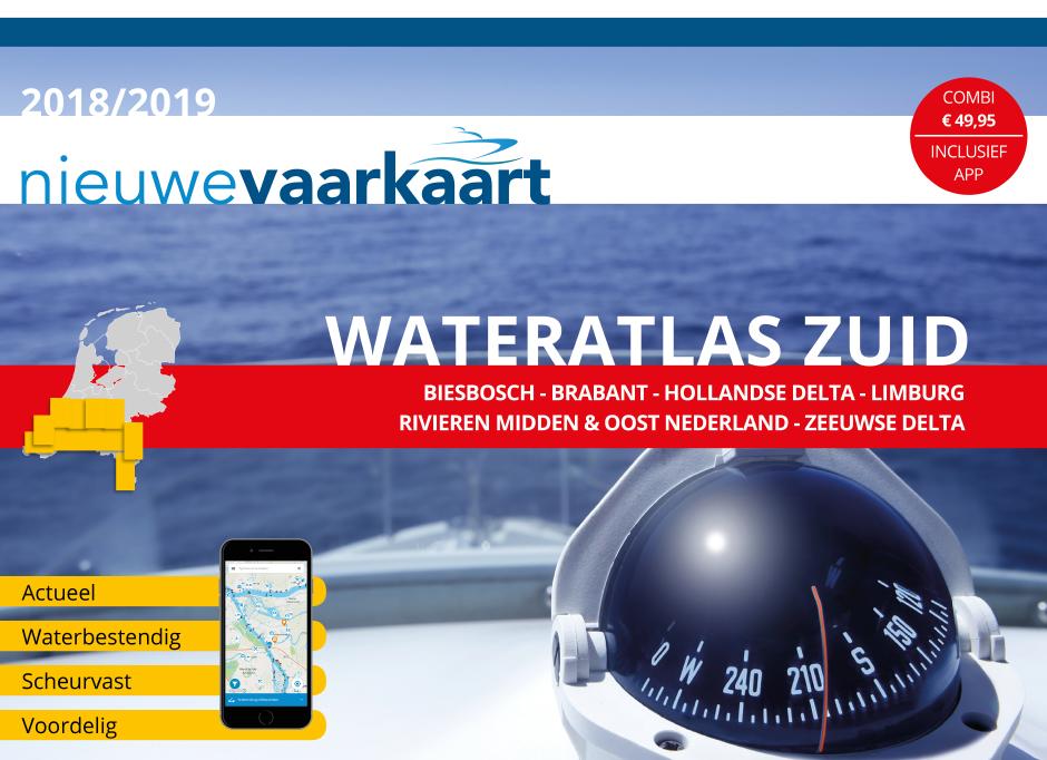 Nieuwe vaarkaart waterkaart; Wateratlas Zuid incl. mobiele vaar app