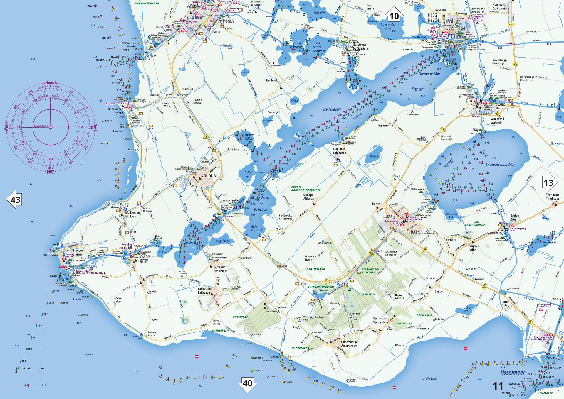 Nieuwe vaarkaart waterkaart; waterkaart Friesland incl. mobiele vaar app
